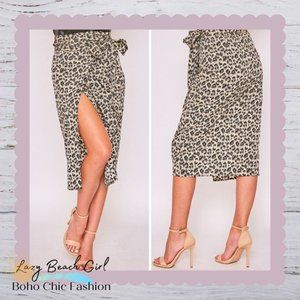 Beautiful, Flowy Leopard Wrap Skirt